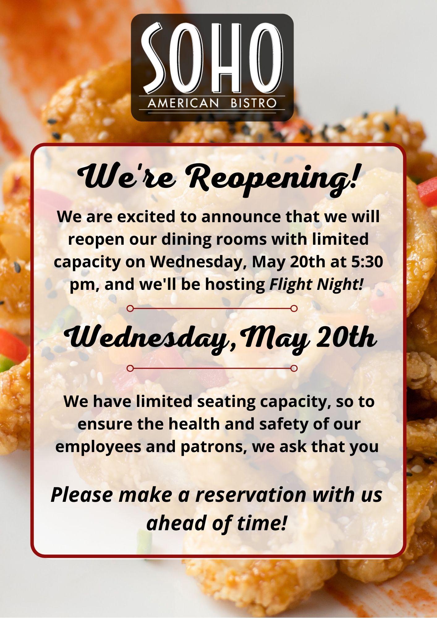 We're Reopening!